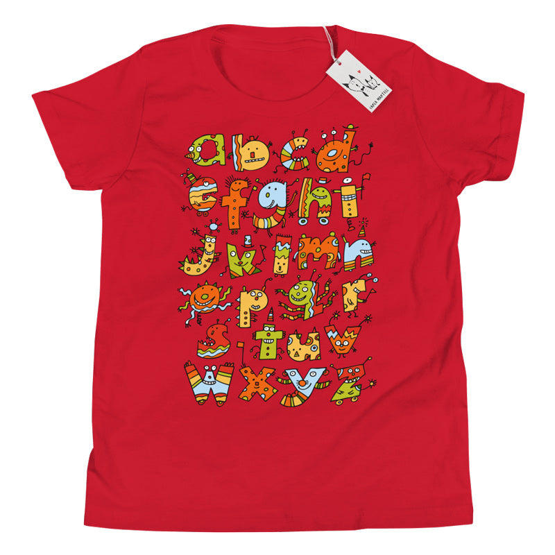 Alphabet Monsters Youth T Shirt | White | Carla Martell