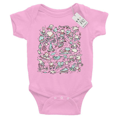 Carla Martell | Amazing Animal Power Baby One Piece | Pink