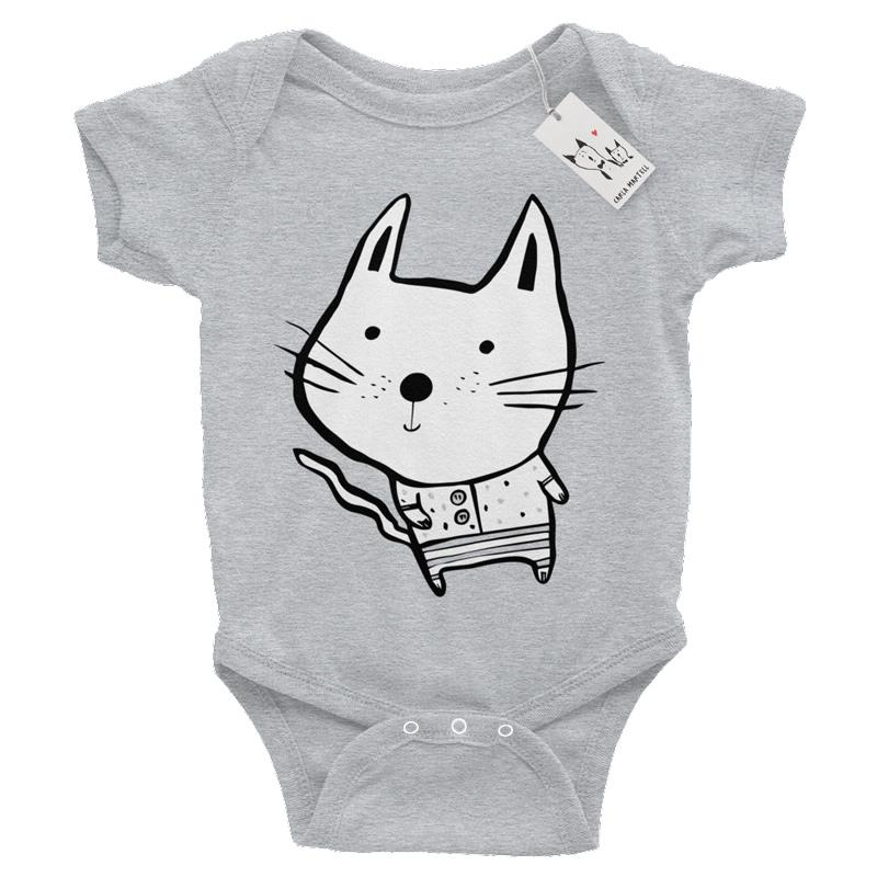 Carla Martell | Baby Cat One Piece | Heather Grey