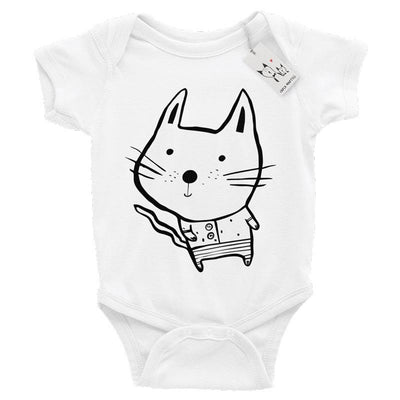 Carla Martell | Baby Cat One Piece | White