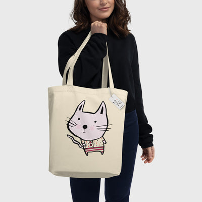 Baby Cat Eco Tote Bag held by woman | Scruffcat