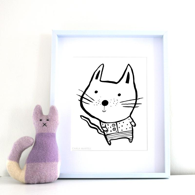 Baby Cat Nursery Art Print by Carla Martell