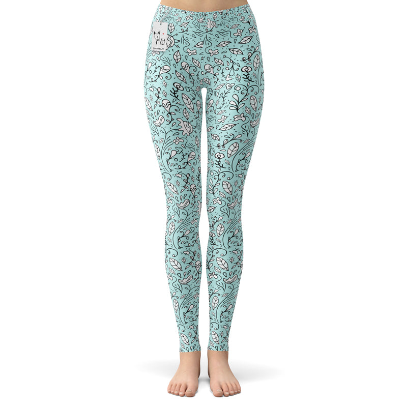 Scruffcat | Blooming Lovely Yoga Leggings front view