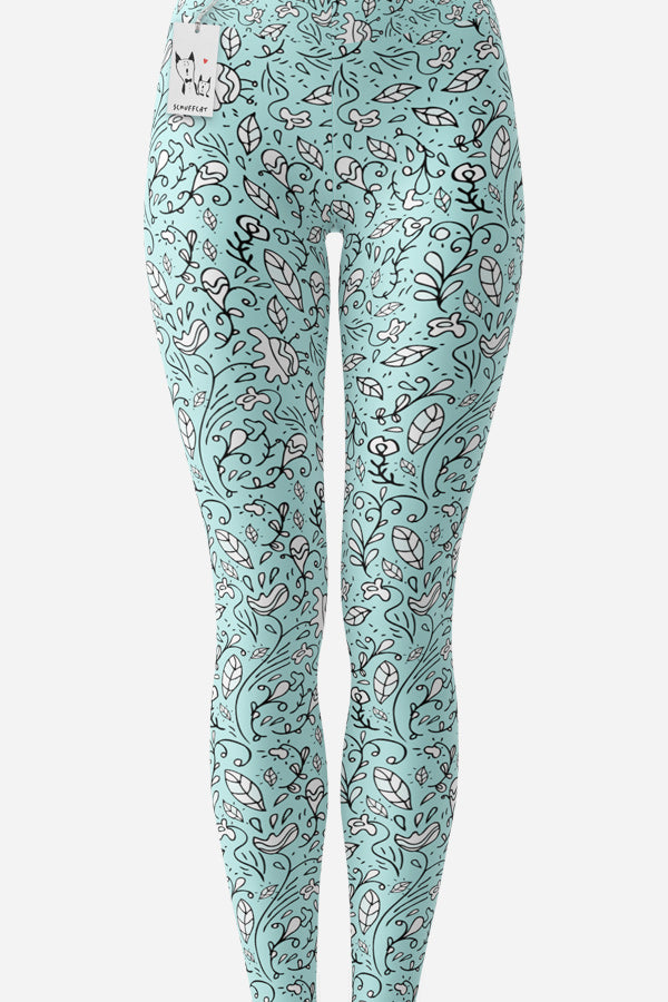 Scruffcat | Blooming Lovely Leggings front view