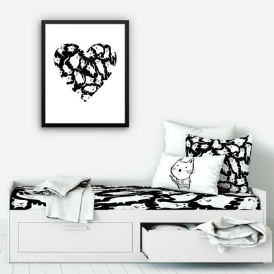 Crazy Cat Heart Art Print decor | Carla Martell