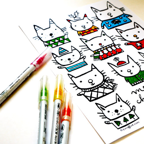Christmas Cats Colouring Page | Carla Martell