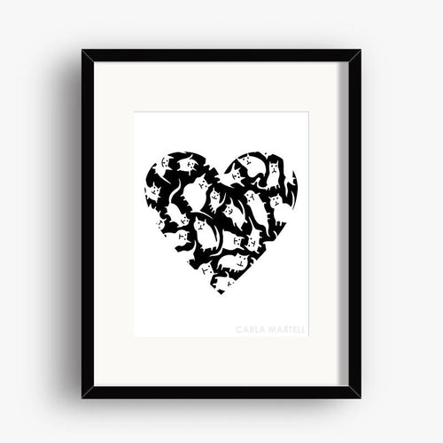 Carla Martell | Crazy Cat Heart Art Print