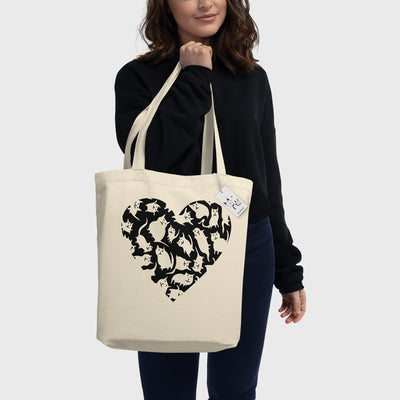 Crazy Cat Heart Eco Tote Bag carried by woman | Scruffcat