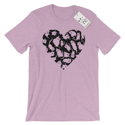 Carla Martell | Crazy Cat Heart Adult Tee | Heather Lilac