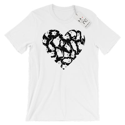 Carla Martell | Crazy Cat Heart Adult Tee | White