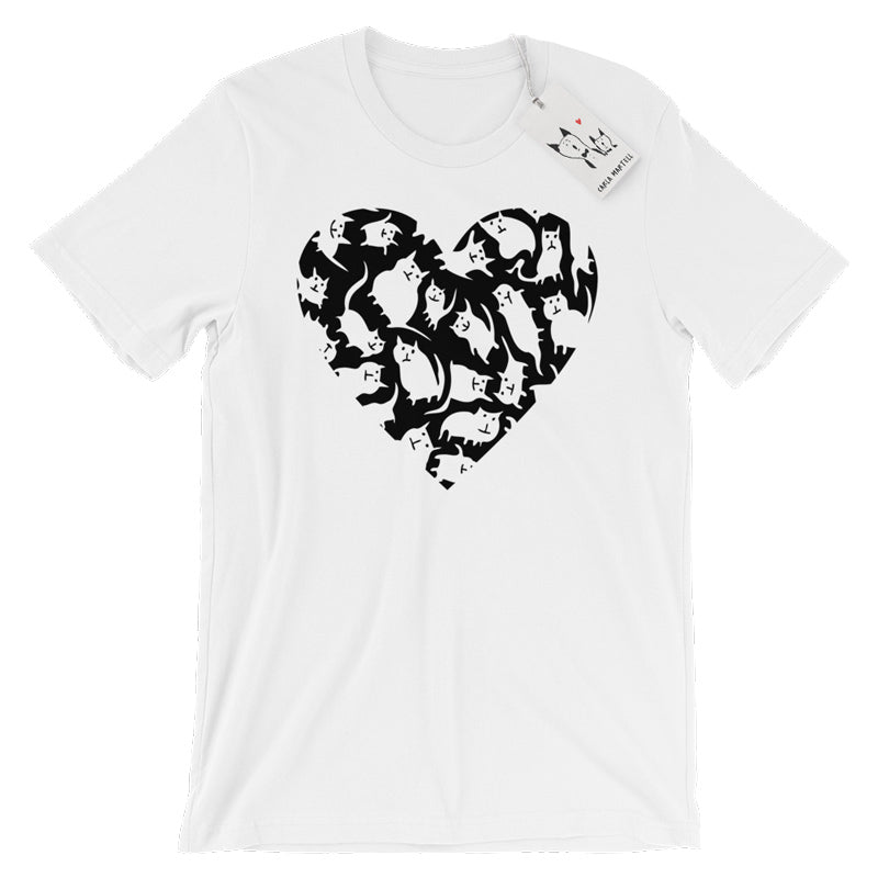 Carla Martell | Crazy Cat Heart Adult Tee | Heather Blue
