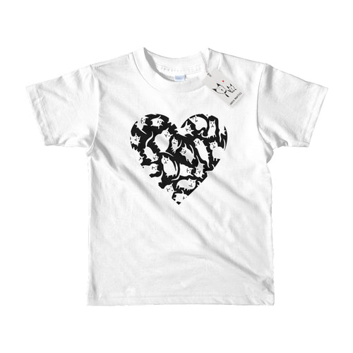 Carla Martell | Crazy Cat Heart Kids T Shirt | White