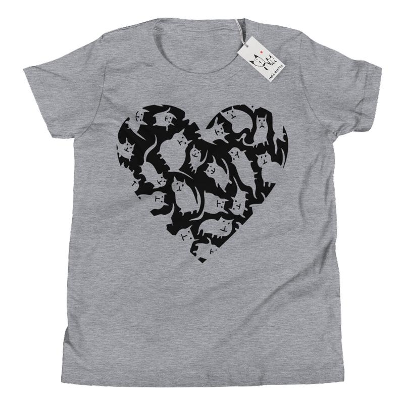 Carla Martell | Crazy Cat Heart Youth T Shirt | Heather