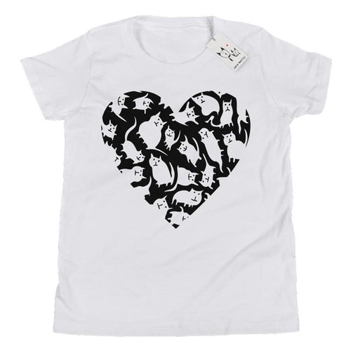 Carla Martell | Crazy Cat Heart Youth T Shirt | White