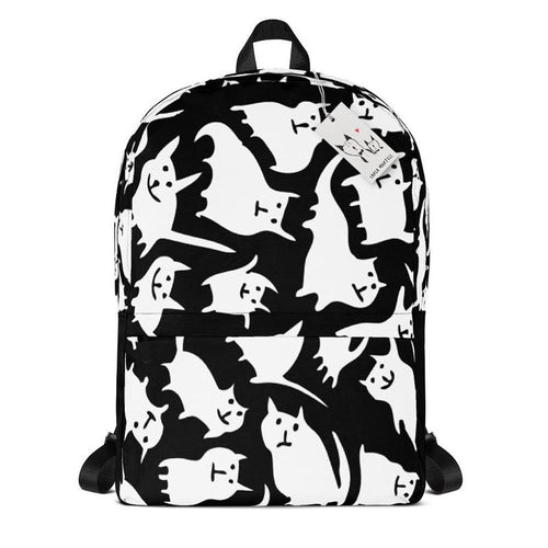 Carla Martell | Crazy Cats Black & White Backpack