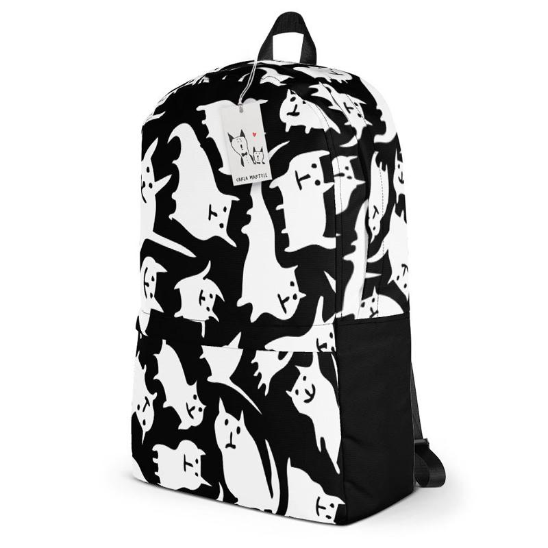 Carla Martell | Crazy Cats Black & White Backpack side view