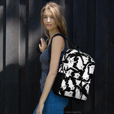 Crazy Cats Black & White Backpack | Carla Martell