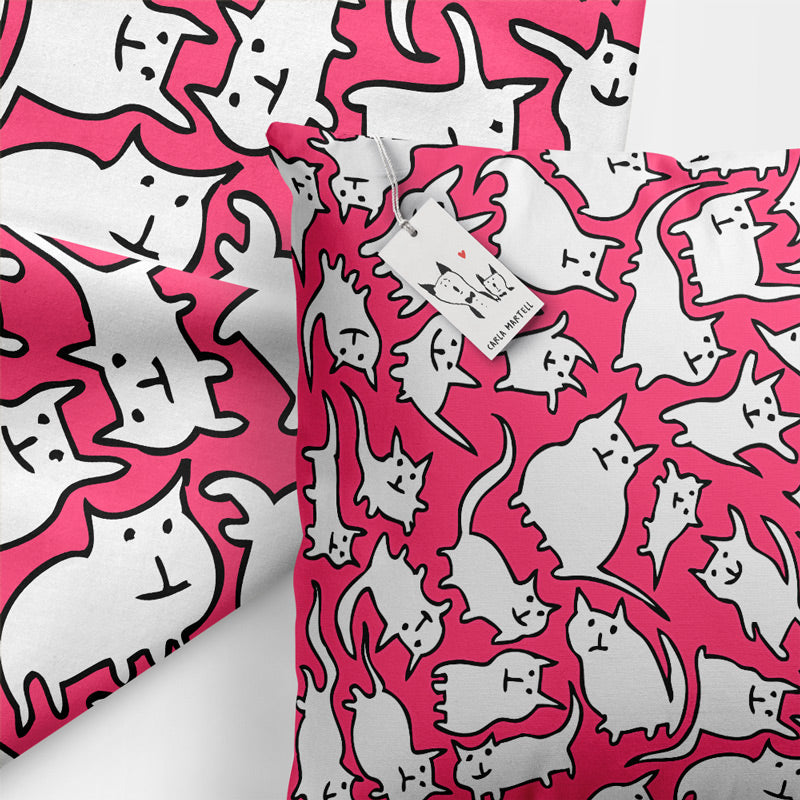 Carla Martell | Crazy Cats Pink & White Cushion