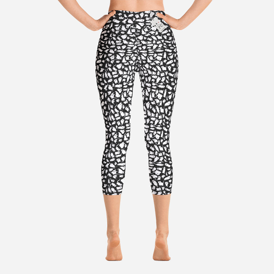 Scruffcat | Crazy Cats Yoga Leggings | Capri back