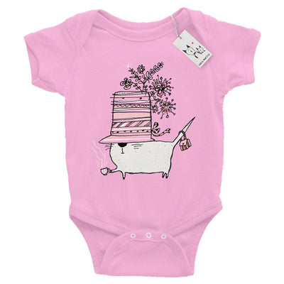 Carla Martell | Cup of Tea Cat Baby One Piece | Pink