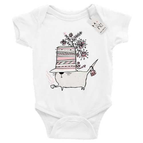 Carla Martell | Cup of Tea Cat Baby One Piece | White