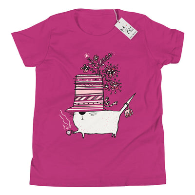 Carla Martell | Cup of Tea Cat Youth Tee | Berry