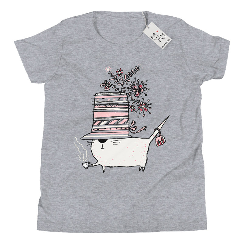 Carla Martell | Cup of Tea Cat Youth Tee | Heather