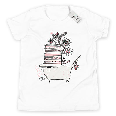 Carla Martell | Cup of Tea Cat Youth Tee | White