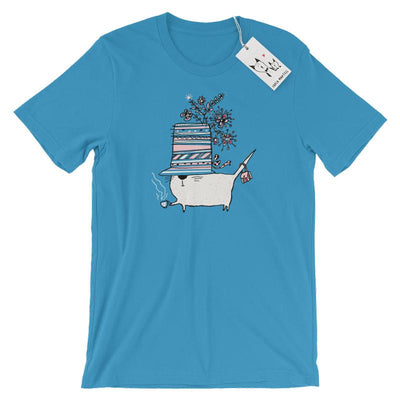 Carla Martell | Cup of Tea Cat T Shirt | Ocean Blue
