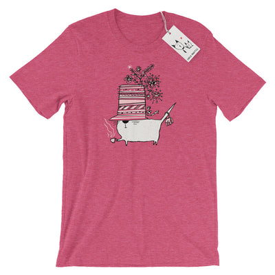Carla Martell | Cup of Tea Cat T Shirt | Heather Raspberry