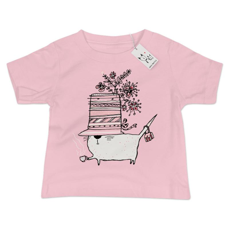 Carla Martell | Cup of Tea Cat Baby T Shirt | Pink