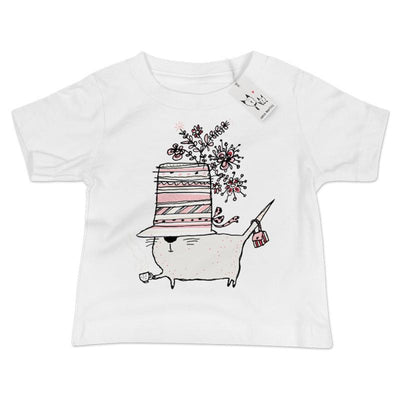 Carla Martell | Cup of Tea Cat Baby T Shirt | White