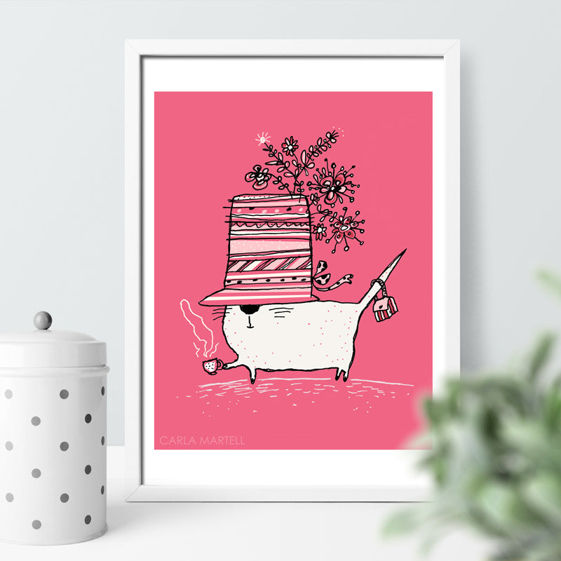 Cup of Tea Cat Art Print | Carla Martell