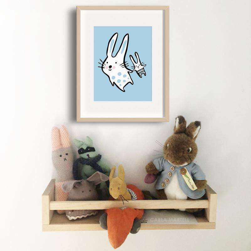 Big Bunny, Little Bunny Nursery Print for child's room | Carla Martell