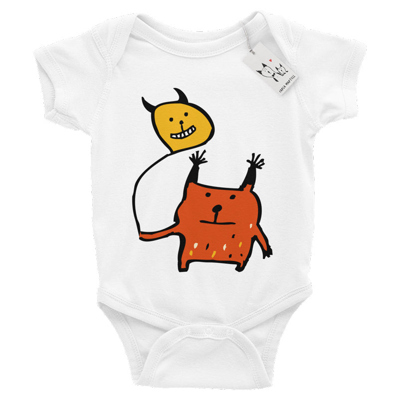 Carla Martell | Little Orange Monster Baby Bodysuit