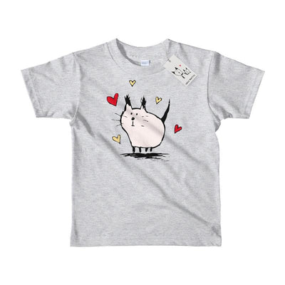 Carla Martell | Little Pink Love Cat Kids Tee | Heather
