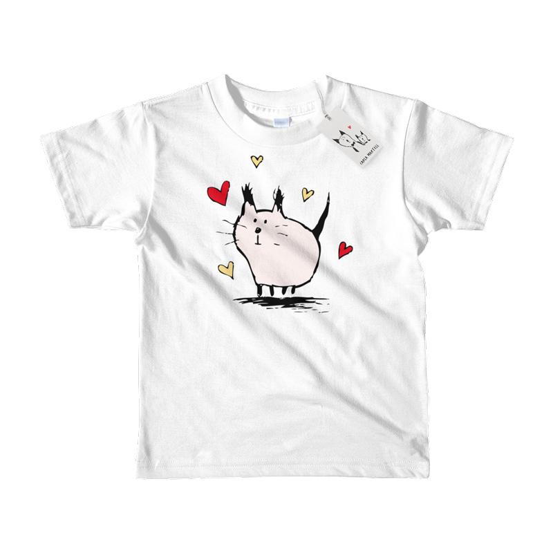 Carla Martell | Little Pink Love Cat Kids Tee | White