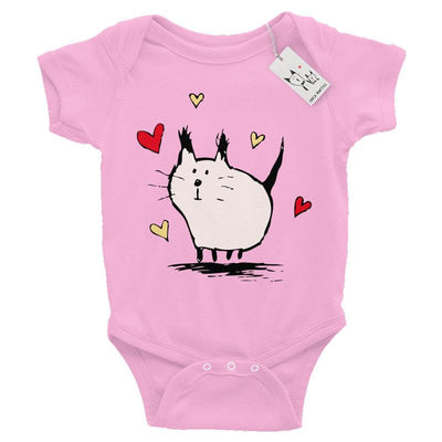 Carla Martell | Little Pink Love Cat Baby Bodysuit | Pink