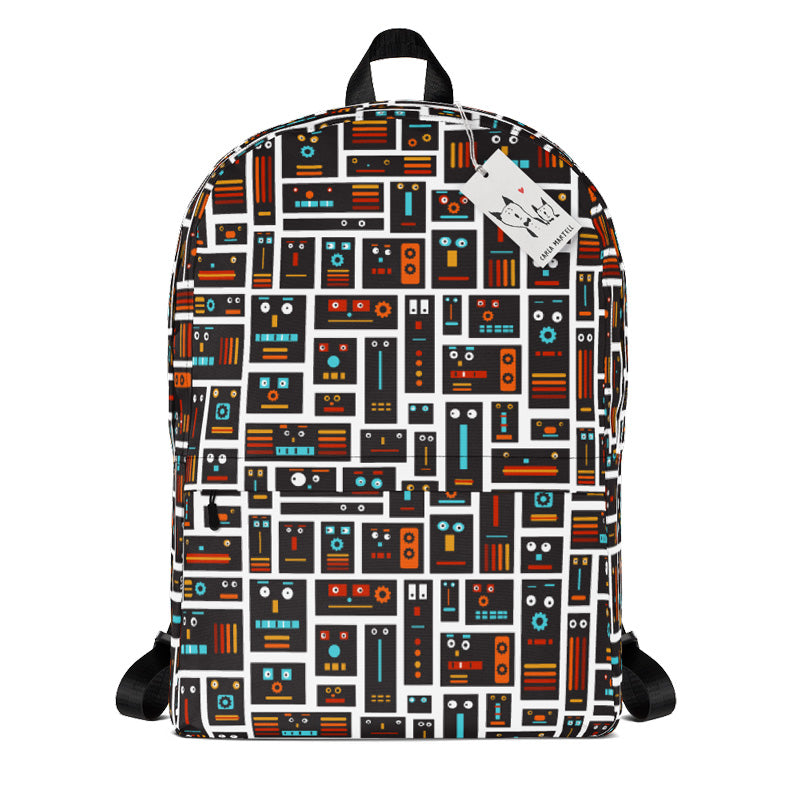 Carla Martell | Retro Robot Friends Kids Backpack