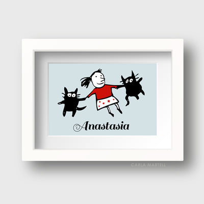 Dancing Cats Blue Personalised Print for Kids | Carla Martell