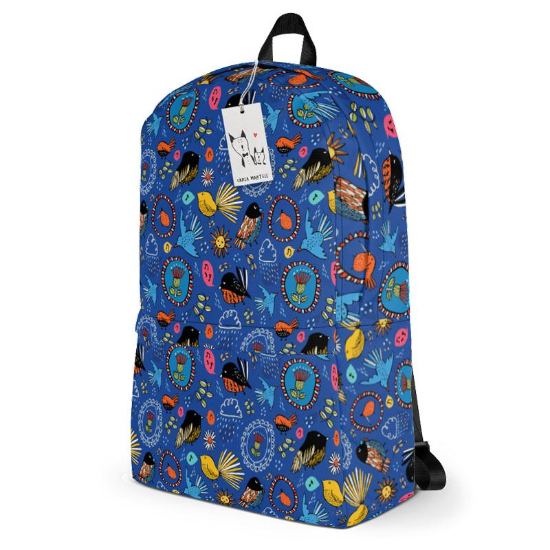 Carla Martell | Fantail Flower Garden Kiwiana Backpack side view