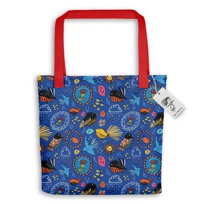 Carla Martell | Fantail Flower Garden Tote Bag | Red handles
