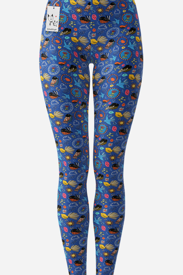 Scruffcat | Fantail Flower Leggings front view