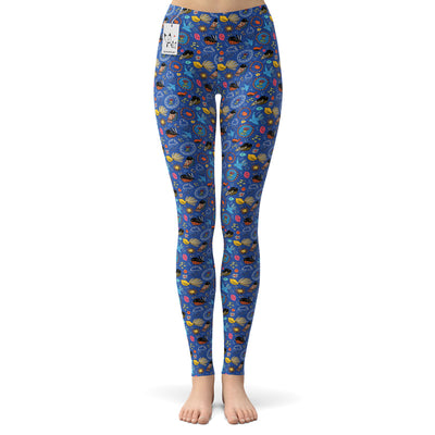 Scruffcat | Fantail Flowers Yoga Leggings front view