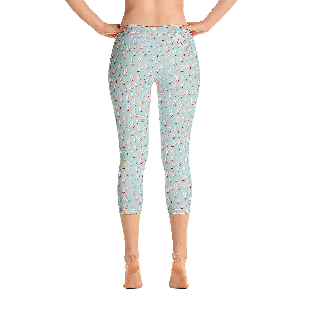 Scruffcat | Flower Bunnies Capri Leggings back view