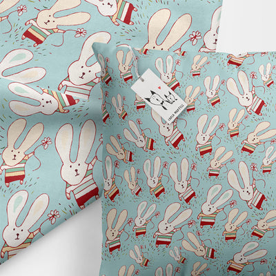 Carla Martell | Fun Flower Bunnies Kids Pillow closeup