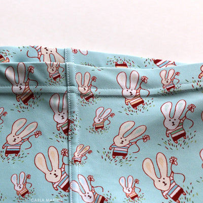 Fun Flower Bunnies Kids Leggings waistband | Carla Martell