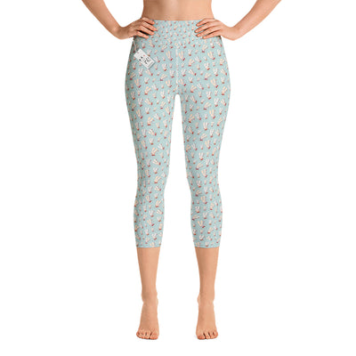 Scruffcat | Flower Bunnies Yoga Capri Leggings