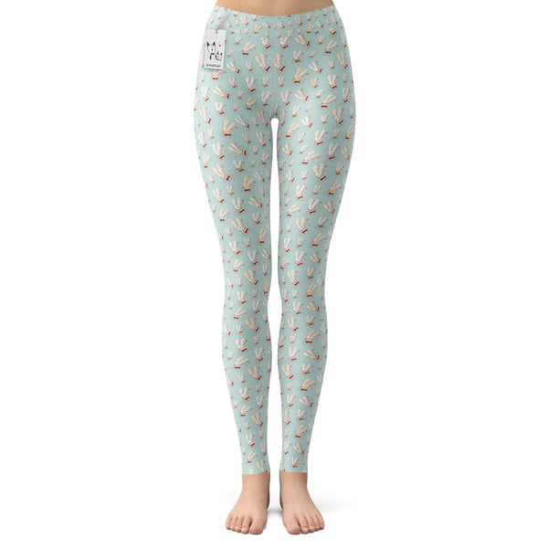 Scruffcat | Flower Bunnies Yoga Leggings front view