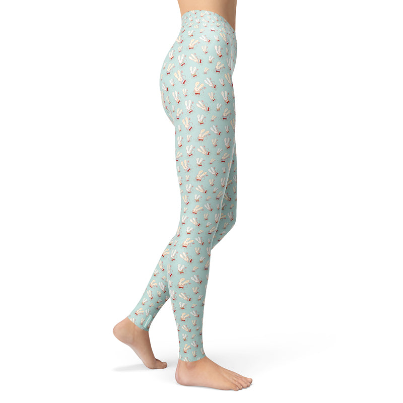 Scruffcat | Flower Bunnies Yoga Leggings side view